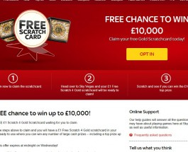 Get a Free Chance to Win £10,000 at Sky Vegas