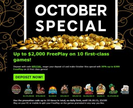888 Casino's October Special Gives Players $2,000 of Free Play