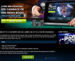 Gala Casino Offers 25% Profit Boosts and Cashback