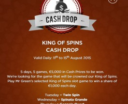 Mr Green King of Spins Promotion offers €5K Prizes