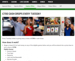 Win a Share of £700 Every Tuesday at Unibet Casino
