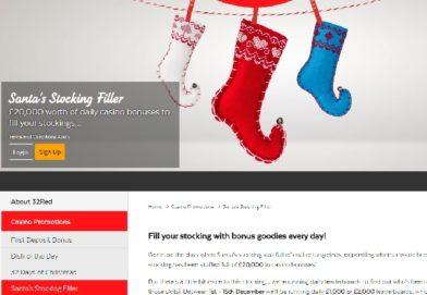 Earn Daily Bonuses with 32Red Casino's £20K Santa's Stocking Filler Promo
