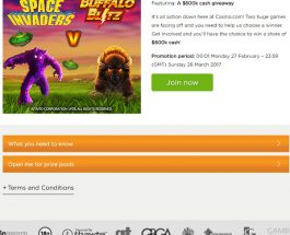Win A Share of $600K at Casino.com