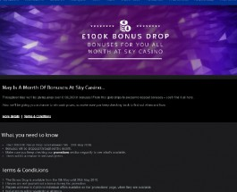 Enjoy a Share of £100K of Bonuses at Sky Casino