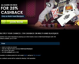 Gala Casino Offers 25% Cashback up to £100 on Multi-hand Blackjack