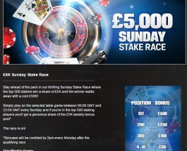 Win a Share of £5K with the Coral Casino Sunday Stake Race