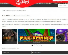 Receive 10% Back in 32Red New Games Giveaway