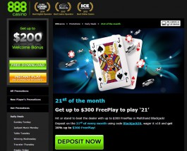 Receive up to $300 in Free Play at 888 Casino on Sunday