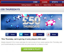 Vernons Casino Offers £50 Cash Prizes This Thursday