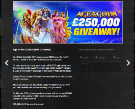 Coral Casino Launches £250K Age of the Gods Giveaway