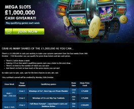 Win a Share of £1 Million in Gala Casino Slots Prize Draw