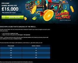 Win a Share of £15,000 Playing Samba de Frutas at Gala Casino